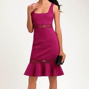 LULUS - Magenta Crochet Midi Dress (Size XS)